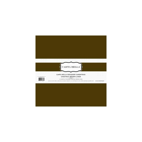 12x12 Designer Cardstock Pack - Chestnut Brown Linen (25 sheets)
