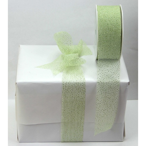 38mm Sparkle Organza Ribbon  - Green