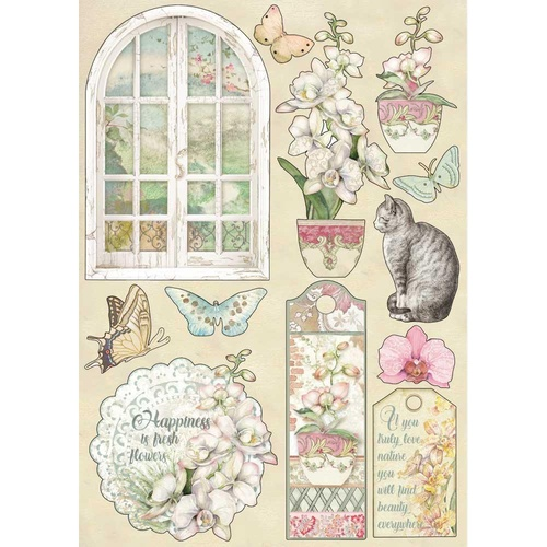 Stamperia - Orchids & Cats, Window - A5 Wooden Shapes