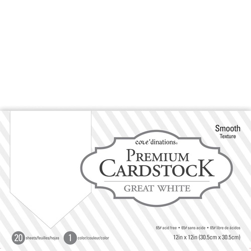12x12 Premium Cardstock - Great White Value Pack