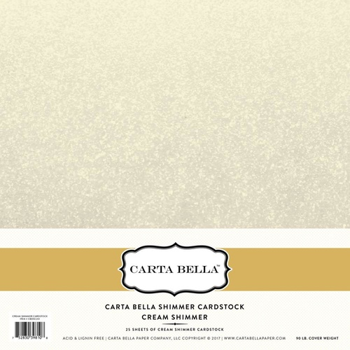 12x12 Shimmer Cardstock - Cream (1 sheet)