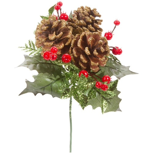 Pinecone & Holly Pick with Glitter Accents