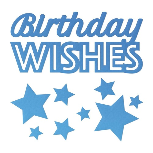 Mini Die - Birthday Wishes Sentiment with stars (9pc)