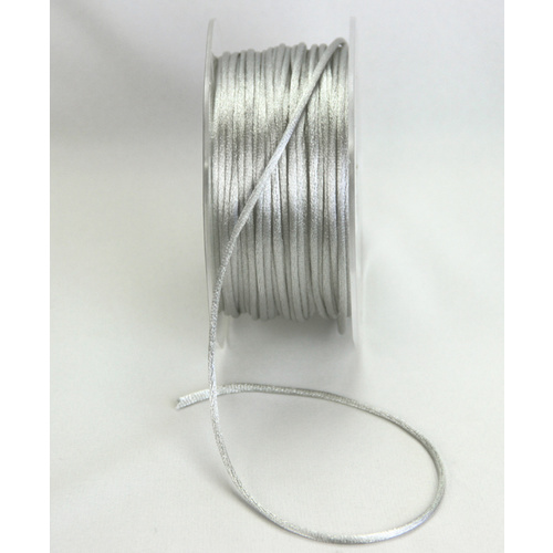 2mm Satin Rat Tail Cord - Silver Grey